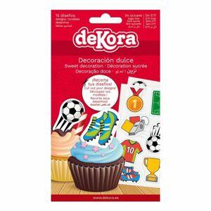 15ks dekorací z jedlého papíru na cupcake Fotbal 3,4cm - Dekora - Dekora
