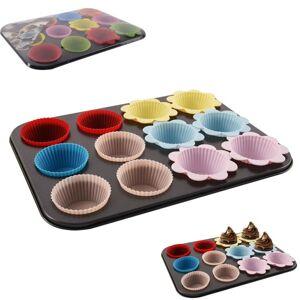 Forma teflonová nepřilnavá na muffiny s 12 silikonovými košíčky - ORION
