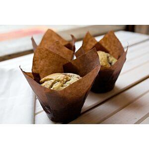 Košíček na muffiny tulipán hnedý papierový 12 ks -