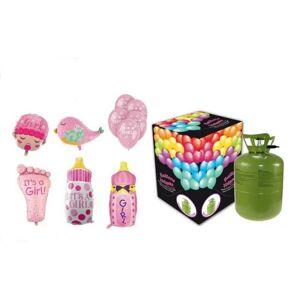 Hélium na plnenie balónov + balóny na oslavu narodenia dievčatka - 250 l - BALLONPUB