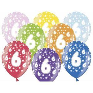 Silné Balónky 30 cm metalické mix - Birthday No.6 - PartyDeco