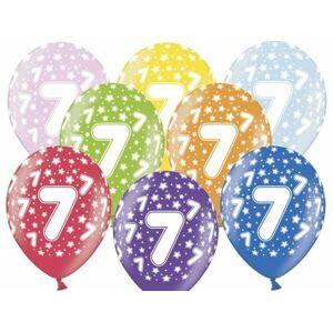 Hrubšie balóny 30 cm metalické mix - Birthday č. 7 - PartyDeco