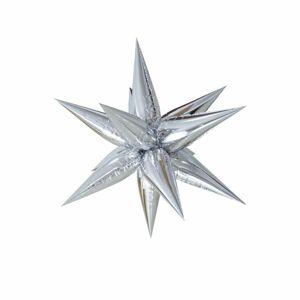 Foliový balónek - 3D hvězda stříbrná 70 cm (NELZE PLNIT HELIEM) - BALONČ