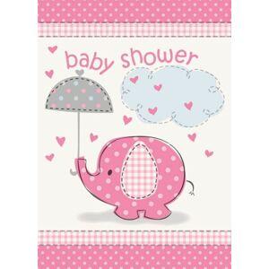 "Pozvánky umbrellaphants ""Baby shower"" - Dievča / Girl 8 ks - UNIQUE"