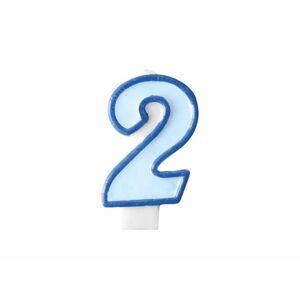Narozeninová svíčka 2, modrá, 7 cm - PartyDeco