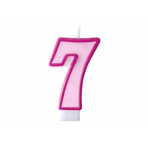 Narozeninová svíčka 7, růžová, 7 cm - PartyDeco