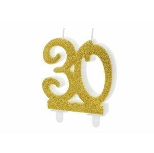 Narozeninová svíčka 30, ZLATÁ - 7,5 cm - PartyDeco