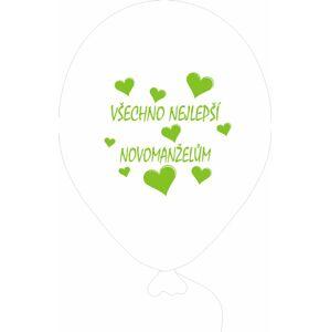 Balónky svatební - Pearl 070 se zeleným potiskem -