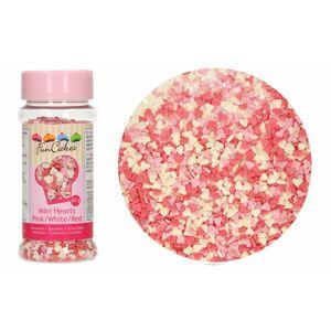 Cukrové zdobenie Mini srdiečka - ružové/biele/červené - 60 g - FunCakes
